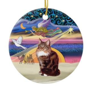 Xmas Star - Maine Coon cat 9 Ceramic Ornament